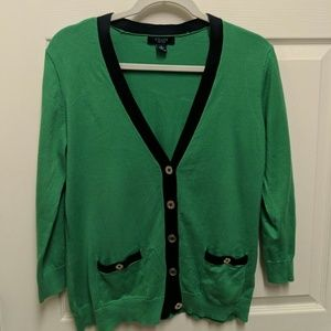 Chaps Green and Navy Cardigan